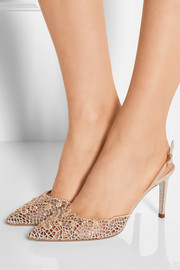 Embellished macramé and suede pumps