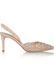 René Caovilla Embellished macramé and suede pumps