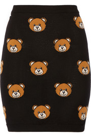Bear-intarsia wool mini skirt