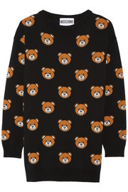 Bear-intarsia wool mini dress