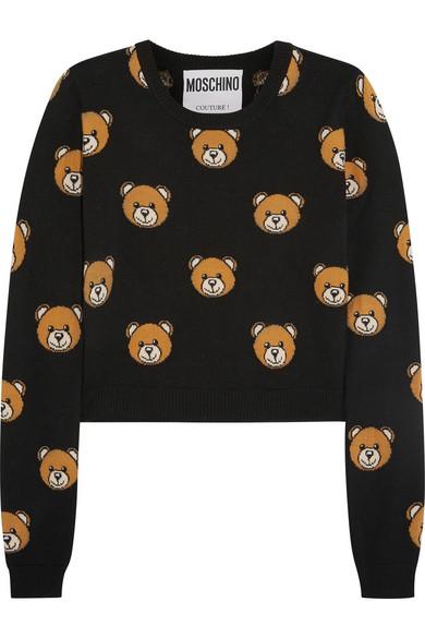 a48427b03d6 Cropped bear-intarsia wool sweater