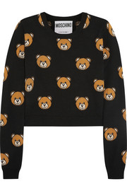 Cropped bear-intarsia wool sweater