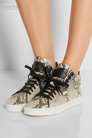 Kent snake-effect leather high-top sneakers