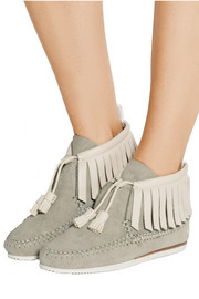 Fringed suede and leather moccasins