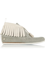 Ghita fringed suede and leather moccasins