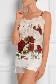 Lace-trimmed floral-print chiffon camisole