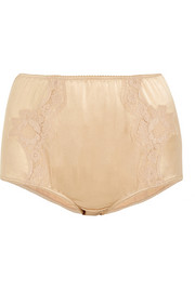 Lace-trimmed silk-blend satin briefs
