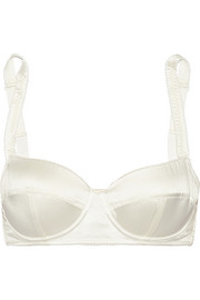 Stretch-silk satin balconette bra