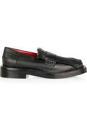 Fringed textured-leather loafers