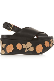 Floral-appliquéd leather platform sandals