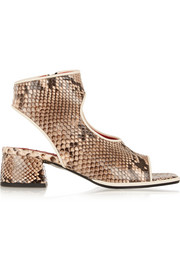 Cutout glossed-python sandals