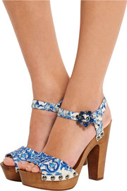 Dolce & Gabbana Embellished printed faille sandals