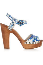 Embellished printed faille sandals