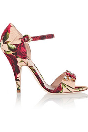 Embellished floral-print brocade sandals