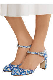 Dolce & Gabbana Printed faille Mary Jane pumps