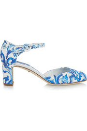 Printed faille Mary Jane pumps