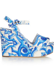 Printed faille wedge sandals