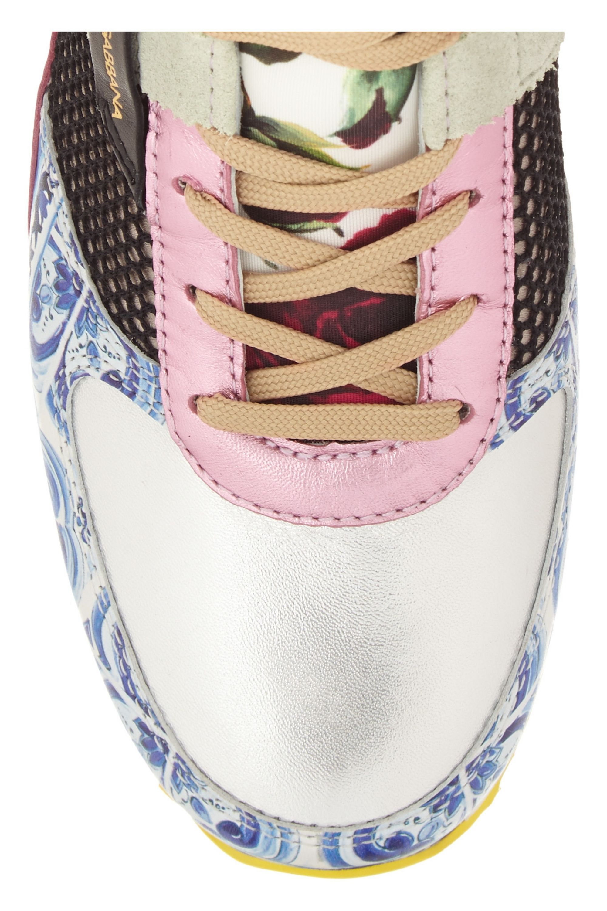 Dolce & Gabbana Paneled leather, mesh and satin sneakers