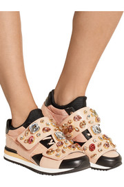 Dolce & Gabbana Embellished leather and canvas sneakers