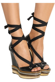 Christian Louboutin Tribuli 140 chain-trimmed leather wedge sandals