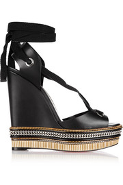 Tribuli 140 chain-trimmed leather wedge sandals