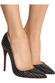 Christian Louboutin So Kate 120 cutout leather and tweed pumps