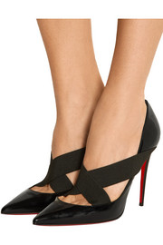 Christian Louboutin Sharpstagram 100 crisscross patent-leather pumps