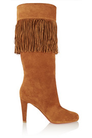 Majung 85 fringed suede knee boots