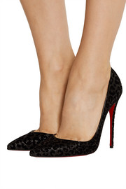 Christian Louboutin Iriza 120 flocked glittered leather pumps