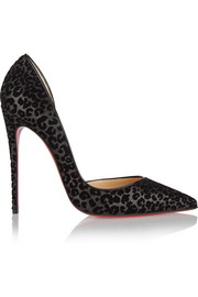 Iriza 120 flocked glitter-finished leather pumps