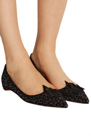 Christian Louboutin Gwalior flocked glittered leather point-toe flats