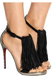 Casanovella 120 fringed glittered leather sandals