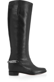 Cate chain-trimmed textured-leather knee boots
