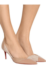 Christian Louboutin Tac Clac 70 paneled leather and suede pumps