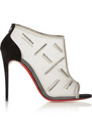 Christian Louboutin Signifiamma 100 chain-embellished mesh and suede ankle boots