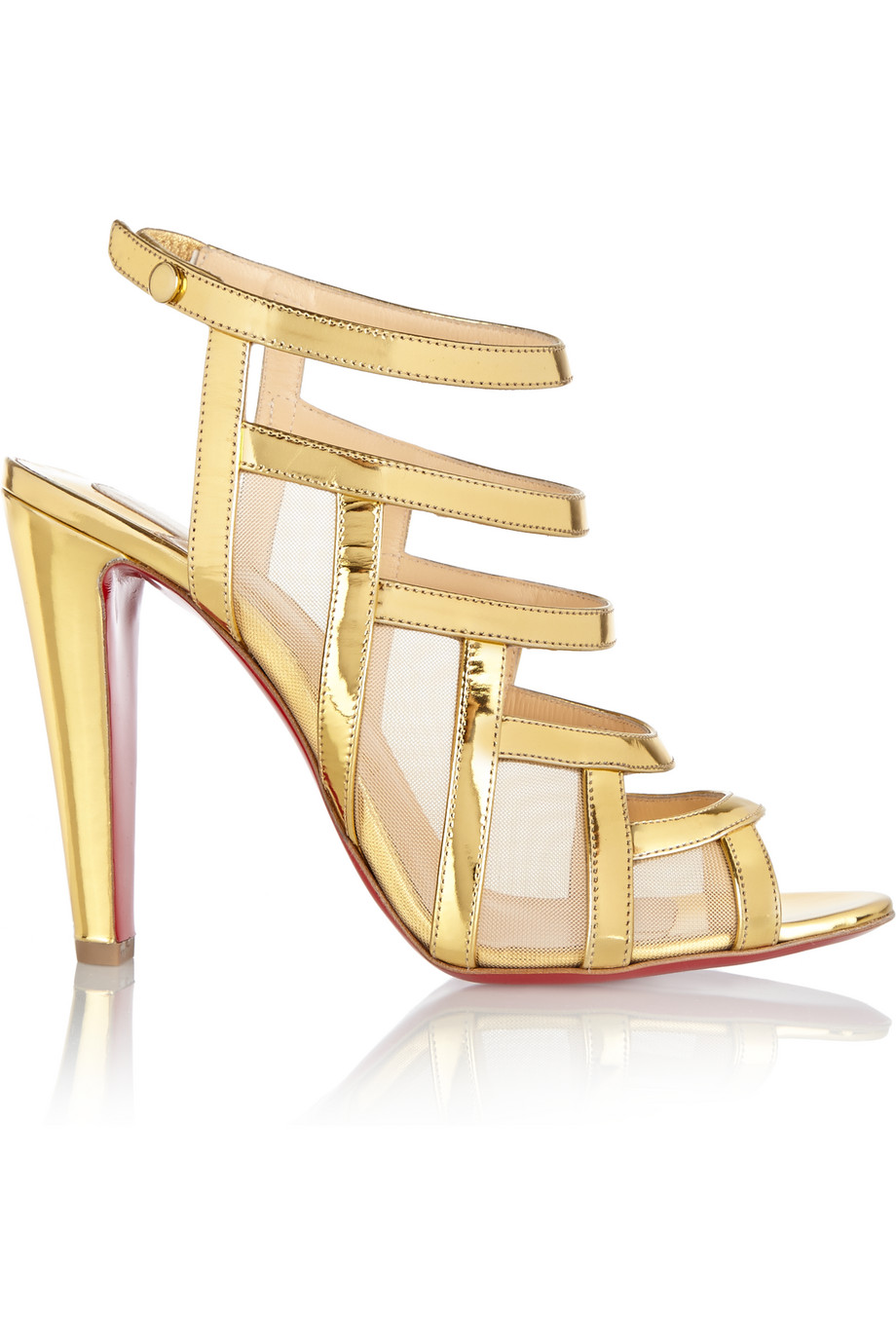 Christian Louboutin Nicobar 100 Leather and Mesh Sandals, Gold, Women's US Size: 8.5, Size: 39