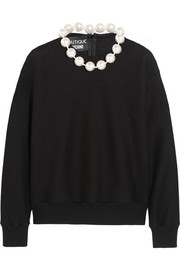 Faux pearl-trimmed cotton-blend sweater