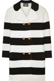 Striped stretch-wool coat