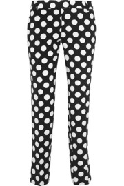 Polka-dot crepe de chine straight-leg pants