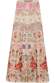 Baudelaire embroidered silk-organza maxi skirt