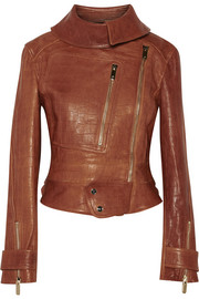 Ernst croc-effect leather biker jacket