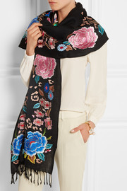 Baudelaine embroidered wool scarf