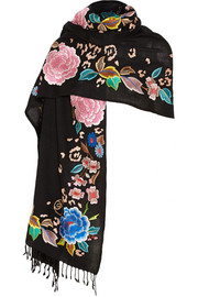 Temperley London Baudelaine embroidered wool scarf