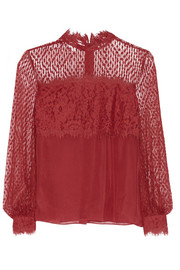 Constance point d'esprit, lace and crepe de chine blouse