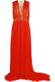 Exclusive Embellished plissé silk-tulle gown