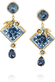 Gold-plated Swarovski crystal clip earrings
