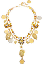 Gold and silver-plated Swarovski crystal necklace