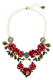 Gold-plated, Swarovski crystal and patent-leather necklace