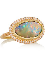 18-karat rose gold, boulder opal and diamond ring