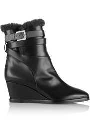Shearling-lined leather wedge ankle boots